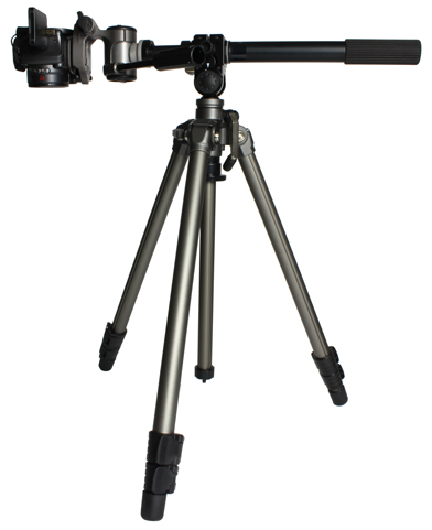Tripod with camera on rotating arm