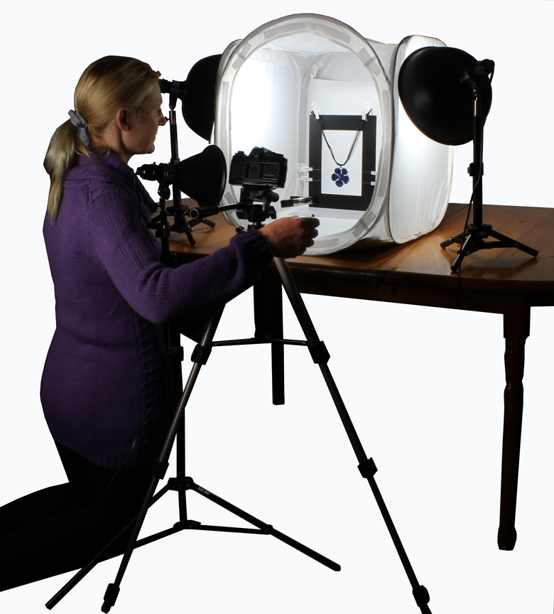 TableTop Studio Jewellery Photography Kit with EZcube Light Tent and EZstaging Freeze Frame Kit