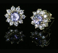 How To Photograph Jewellery - Diamond and Sapphire Earrings on Black Reflective Riser