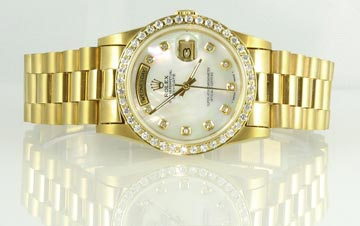 Rolex Watch on White Shiny Riser
